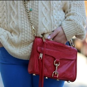 Rebecca Minkoff red Mini Mac gold hardware